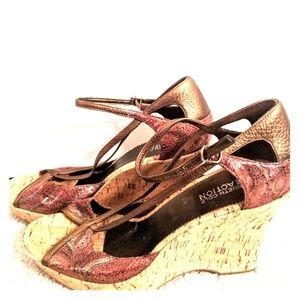 Kenneth Cole Paisley Pattern Cork Wedge Sandals 9